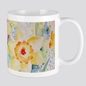 Watercolor yellow flowers daffodils pattern Mugs